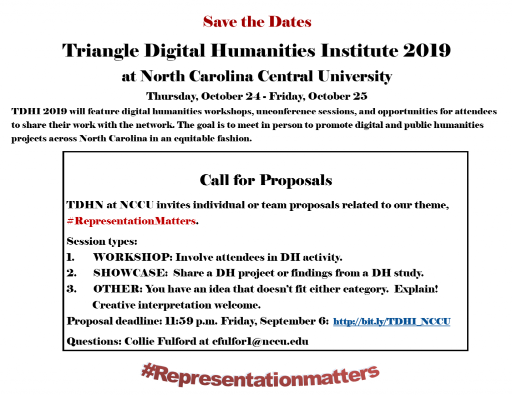 Poster with a CFP and save the date information for the Fall 2019 TDHI at NCCU