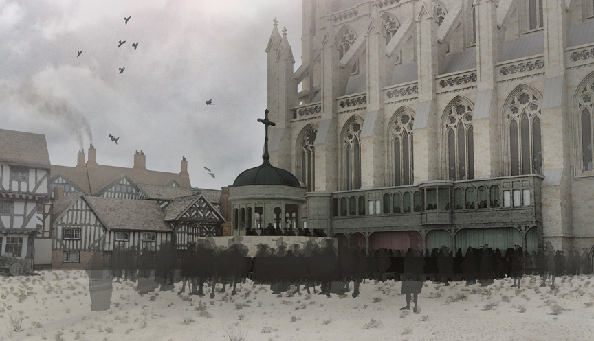 Image taken from the immersive experience of the Virtual Paul's Cross Project.