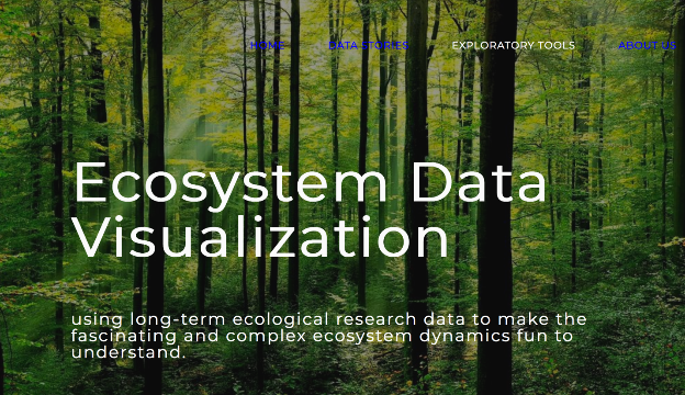 screenshot of Ecological Data Visualization website homepage