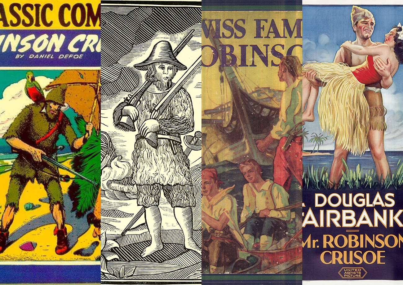 Collage of Robinson Crusoe covers