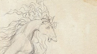 William Blake pencil drawing - female with horse's head